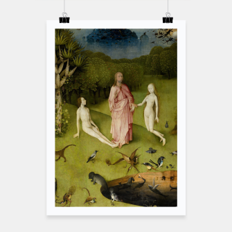 Fashion and Decor items of Hieronymus Bosch painting, Eden from the triptych Garden of Earthly Delights Poster obraz miniatury