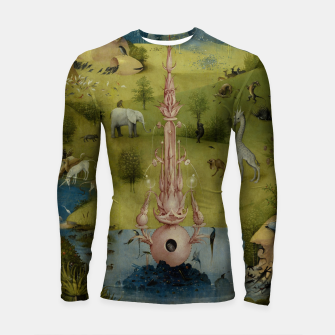 Fashion and Decor items of Hieronymus Bosch painting, Eden from the triptych Garden of Earthly Delights Longsleeve rashguard  obraz miniatury