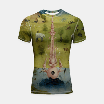 Fashion and Decor items of Hieronymus Bosch painting, Eden from the triptych Garden of Earthly Delights Shortsleeve rashguard obraz miniatury