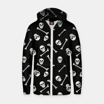 Thumbnail image of Halloween Skull and bones Zip up hoodie, Live Heroes