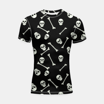 Thumbnail image of Halloween Skull and bones Shortsleeve rashguard, Live Heroes