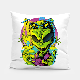 Alien Summer Vibes Pillow Bild der Miniatur