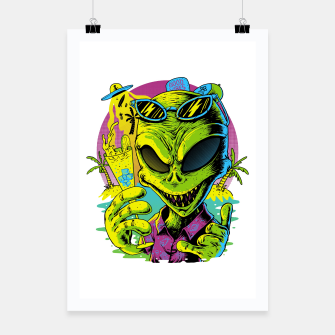 Thumbnail image of Alien Summer Vibes Poster, Live Heroes