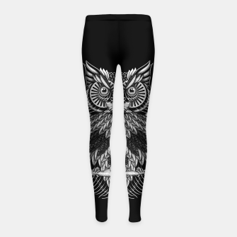Owl Skull Ornate Girl's leggings Bild der Miniatur