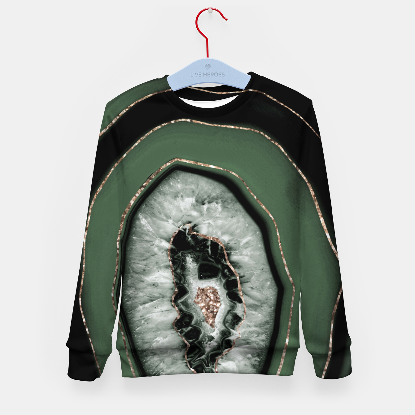 Image de Green Black Agate with Gold Glitter #1 #gem #decor #art Kindersweatshirt - Live Heroes