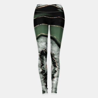 Green Black Agate with Gold Glitter #1 #gem #decor #art Leggings obraz miniatury