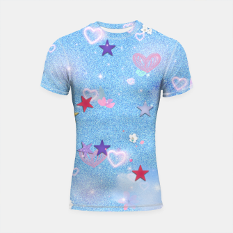 Thumbnail image of Some Cuteness 1 blue Shortsleeve rashguard, Live Heroes