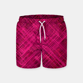 Thumbnail image of Red/Fuchsia Diagonal Line Pattern Swim Shorts, Live Heroes