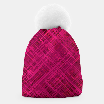 Thumbnail image of Red/Fuchsia Diagonal Line Pattern Beanie, Live Heroes