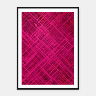 Thumbnail image of Red/Fuchsia Diagonal Line Pattern Framed poster, Live Heroes