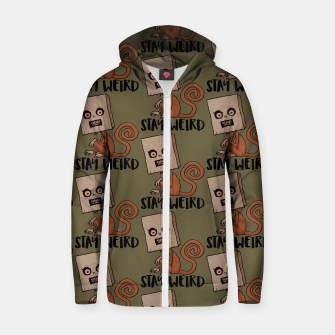 Stay Weird Sack Monkey Pattern Zip up hoodie Bild der Miniatur
