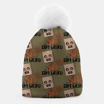 Stay Weird Sack Monkey Pattern Beanie Bild der Miniatur