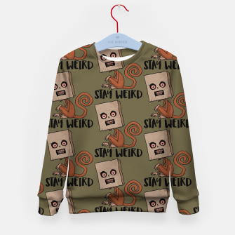 Miniatur Stay Weird Sack Monkey Pattern Kid's sweater, Live Heroes