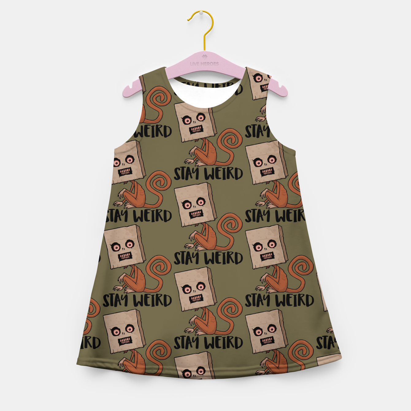 Foto Stay Weird Sack Monkey Pattern Girl's summer dress - Live Heroes