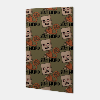 Miniatur Stay Weird Sack Monkey Pattern Canvas, Live Heroes