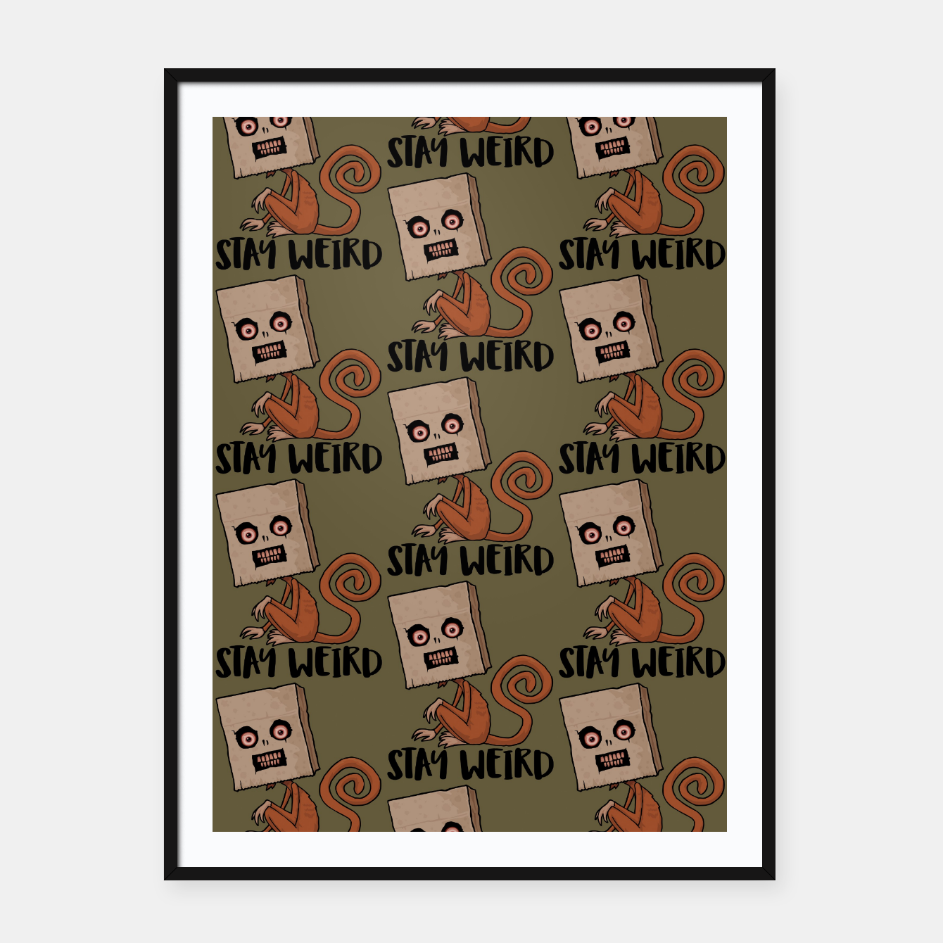 Foto Stay Weird Sack Monkey Pattern Framed poster - Live Heroes