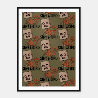 Miniatur Stay Weird Sack Monkey Pattern Framed poster, Live Heroes