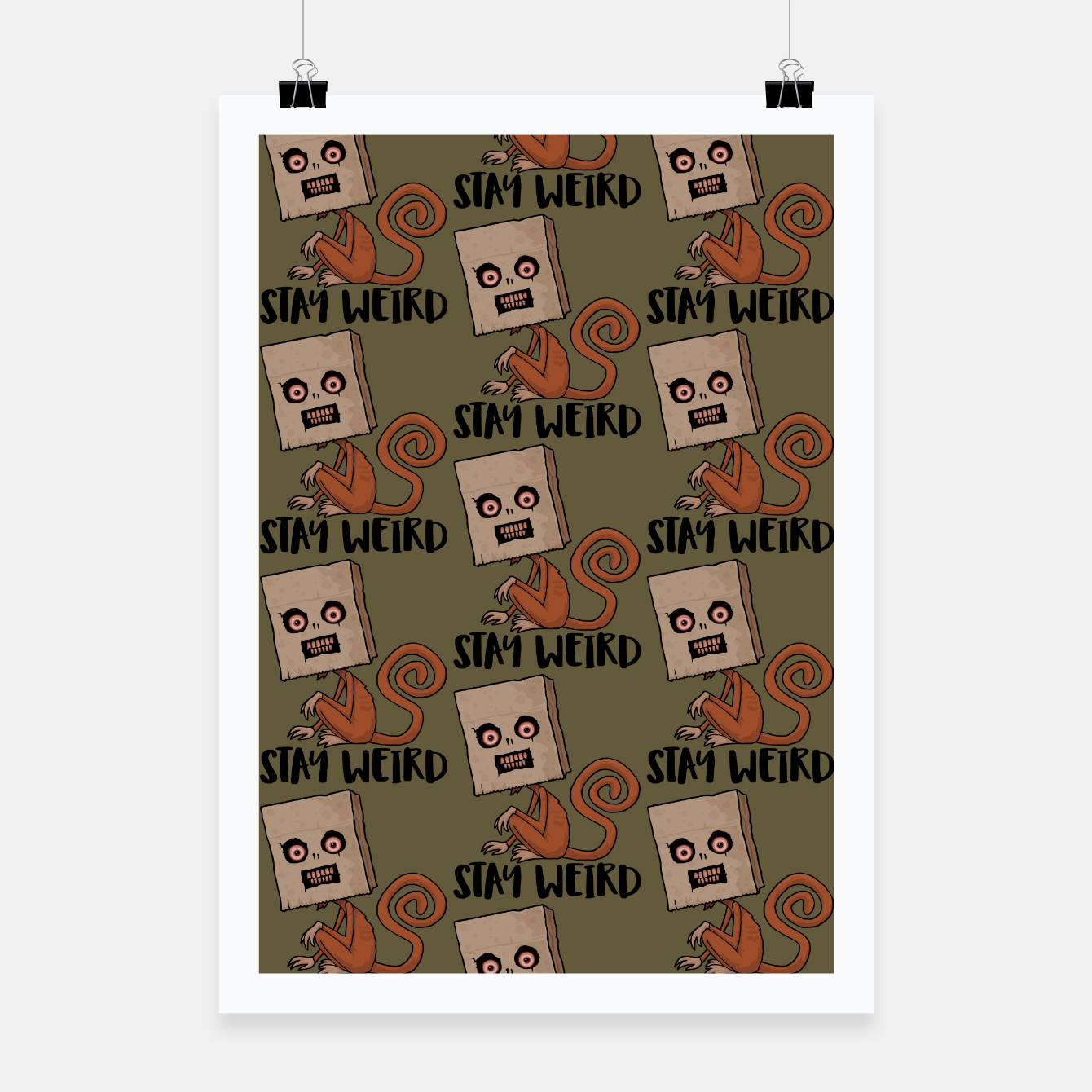 Foto Stay Weird Sack Monkey Pattern Poster - Live Heroes