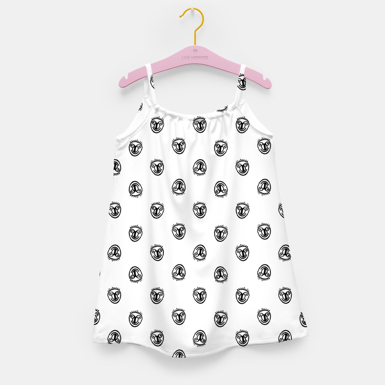 Image of Funny Clown Sketchy Drawing Pattern Girl's dress - Live Heroes