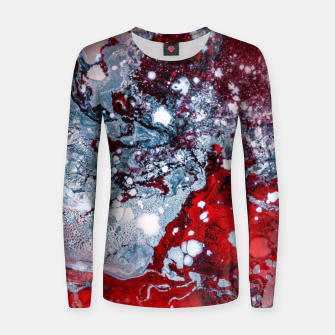 Thumbnail image of Silver Red Abstract Art Women sweater, Live Heroes