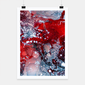 Thumbnail image of Silver Red Abstract Art Poster, Live Heroes
