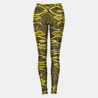 Thumbnail image of Black and Gold Snake Skin Leggings, Live Heroes