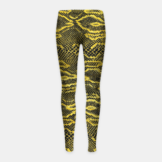 Black and Gold Snake Skin Girl's leggings obraz miniatury