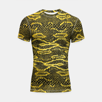 Thumbnail image of Black and Gold Snake Skin Shortsleeve rashguard, Live Heroes