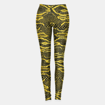 Miniaturka Black and Gold Snake Skin Leggings, Live Heroes