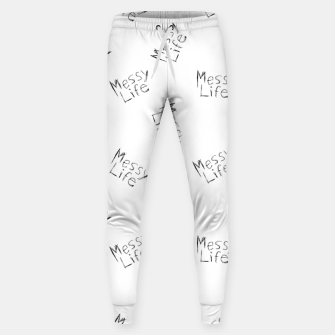 Miniatur Messy Life Phrase Motif Typographic Pattern Sweatpants, Live Heroes