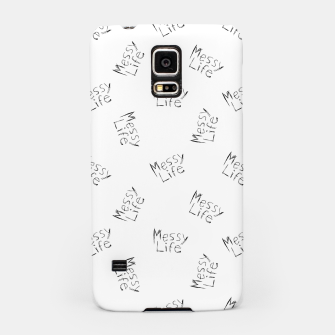 Miniatur Messy Life Phrase Motif Typographic Pattern Samsung Case, Live Heroes