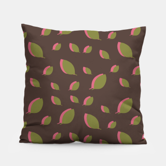 Autumn leaves green brown Pillow miniature