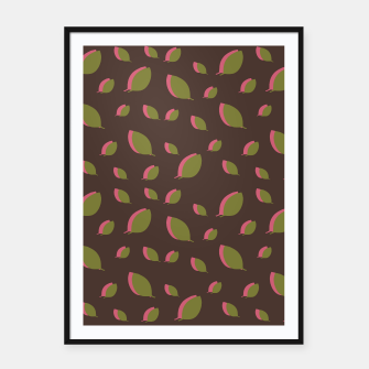Autumn leaves green brown Framed poster miniature
