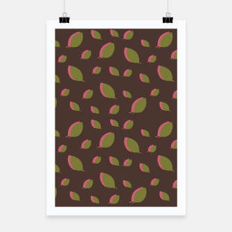Autumn leaves green brown Poster miniature