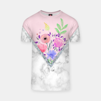 Thumbnail image of MINIMAL PINK FLORAL MARBLE Camiseta, Live Heroes