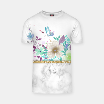 Thumbnail image of MINIMAL GOLD FLORAL MARBLE Camiseta, Live Heroes