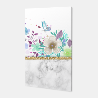 Thumbnail image of MINIMAL GOLD FLORAL MARBLE Canvas, Live Heroes