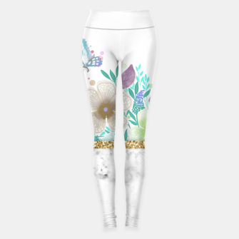 Thumbnail image of MINIMAL GOLD FLORAL MARBLE Leggings, Live Heroes