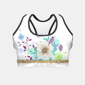 Thumbnail image of MINIMAL GOLD FLORAL MARBLE Crop Top, Live Heroes