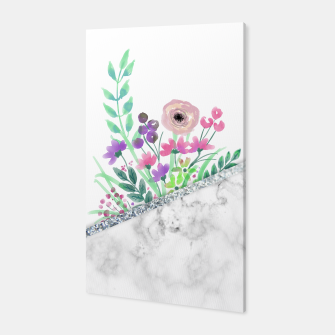 Thumbnail image of MINIMAL SILVER FLORAL MARBLE Canvas, Live Heroes