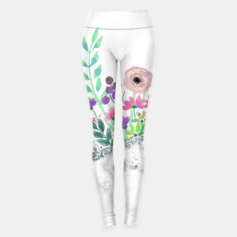 Thumbnail image of MINIMAL SILVER FLORAL MARBLE Leggings, Live Heroes