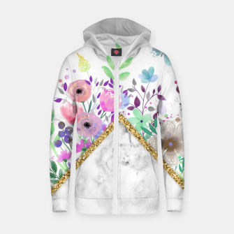 Thumbnail image of MINIMAL GOLD MARBLE BOUQUET Sudadera con capucha y cremallera , Live Heroes