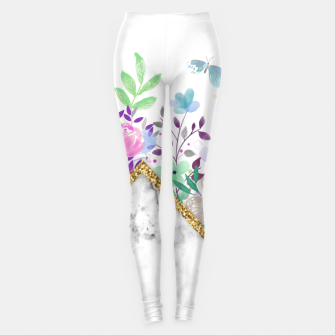 Thumbnail image of MINIMAL GOLD MARBLE BOUQUET Leggings, Live Heroes
