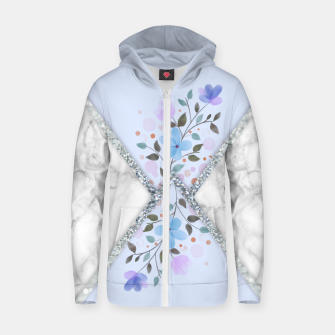 Thumbnail image of MINIMAL SILVER BLUE MARBLE BOUQUET Sudadera con capucha y cremallera , Live Heroes
