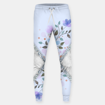 Thumbnail image of MINIMAL SILVER BLUE MARBLE BOUQUET Pantalones de chándal , Live Heroes