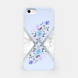 Thumbnail image of MINIMAL SILVER BLUE MARBLE BOUQUET Carcasa por Iphone, Live Heroes
