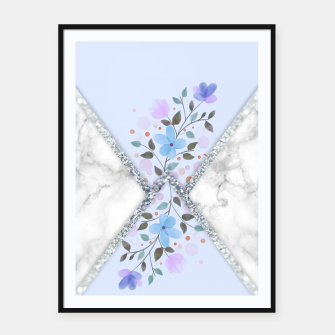 Thumbnail image of MINIMAL SILVER BLUE MARBLE BOUQUET Cartel con marco, Live Heroes