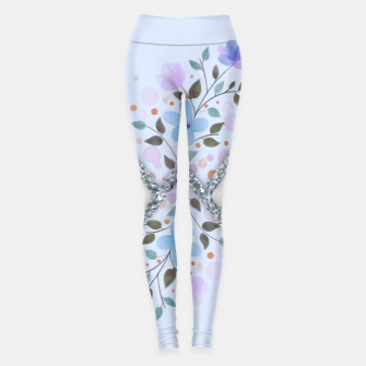 Thumbnail image of MINIMAL SILVER BLUE MARBLE BOUQUET Leggings, Live Heroes