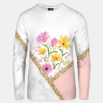 Thumbnail image of Minimal Peach Gold Floral Marble Sudadera unisex, Live Heroes