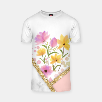Thumbnail image of Minimal Peach Gold Floral Marble Camiseta, Live Heroes